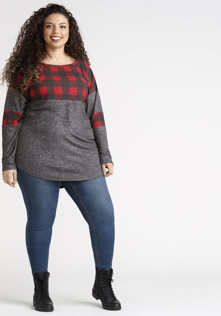 Women's Buffalo Plaid Colour Block Top, RED/CHARCOAL, hi-res
