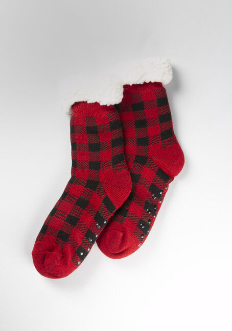 Women's Buffalo Plaid Slipper Sock, RED/BLACK, hi-res