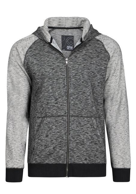 Men's Textured Zip Front Hoodie