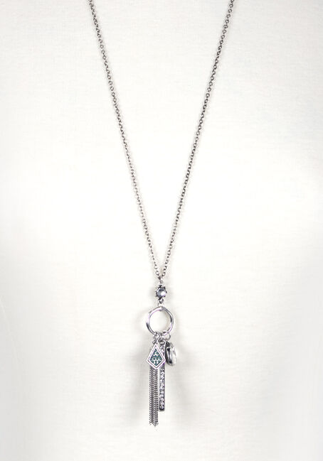 Women's Bar Charm Necklace, SILVER OX, hi-res