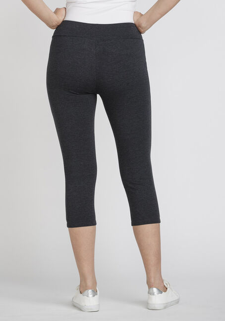 Women's Wide Waistband Capri Legging, CHARCOAL, hi-res