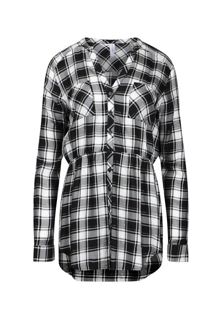 Women's Shimmer Plaid Tunic Shirt