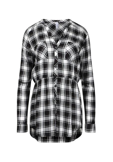 Women's Shimmer Plaid Tunic Shirt