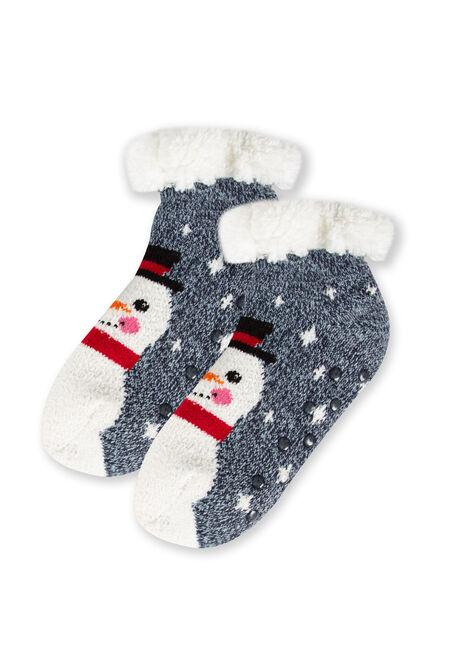 Women's Snowman Slipper Socks, BLUE, hi-res