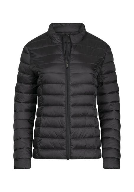Women's Packable Puffer Jacket, BLACK, hi-res