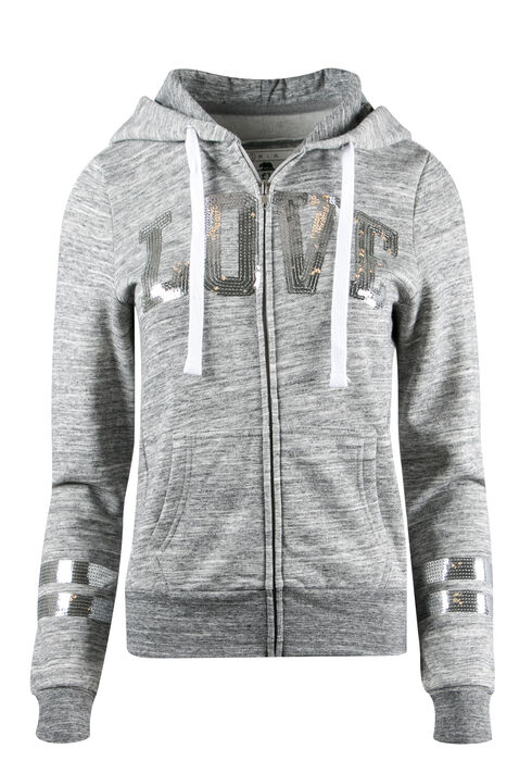 Ladies' Sequin Love Hoodie, MARLED CHARCOAL, hi-res