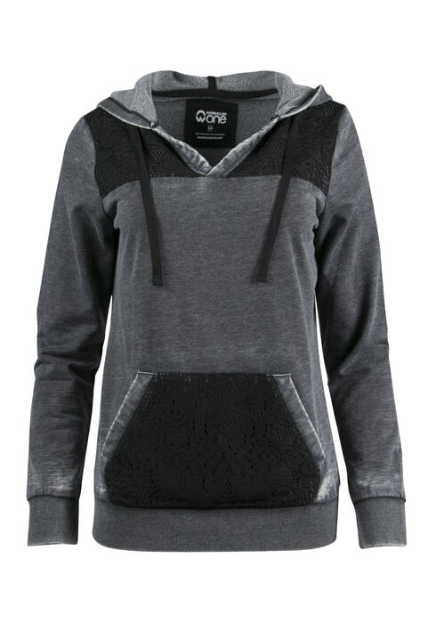 Ladies' Lace Insert Hoodie, BLACK, hi-res