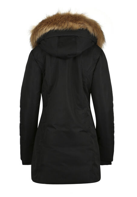 Ladies' Quilted Parka, BLACK, hi-res