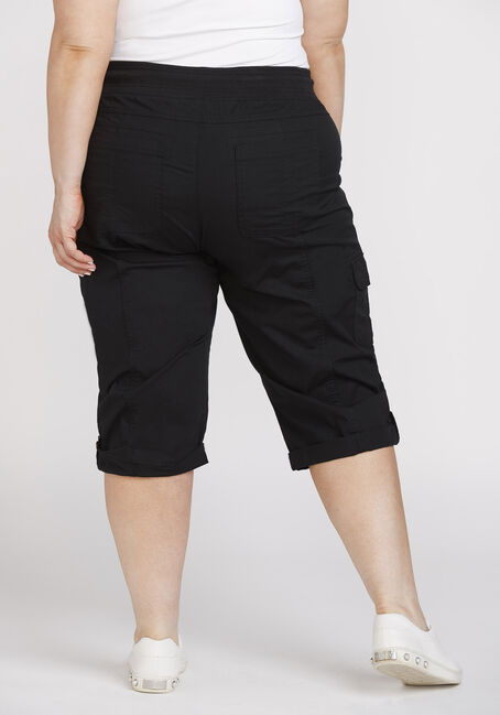 Women's Plus Size Poplin Cargo Capri, BLACK, hi-res
