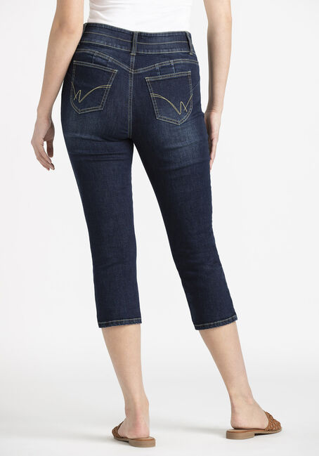 Women's 2 Button High Rise Skinny Capri, DARK WASH, hi-res