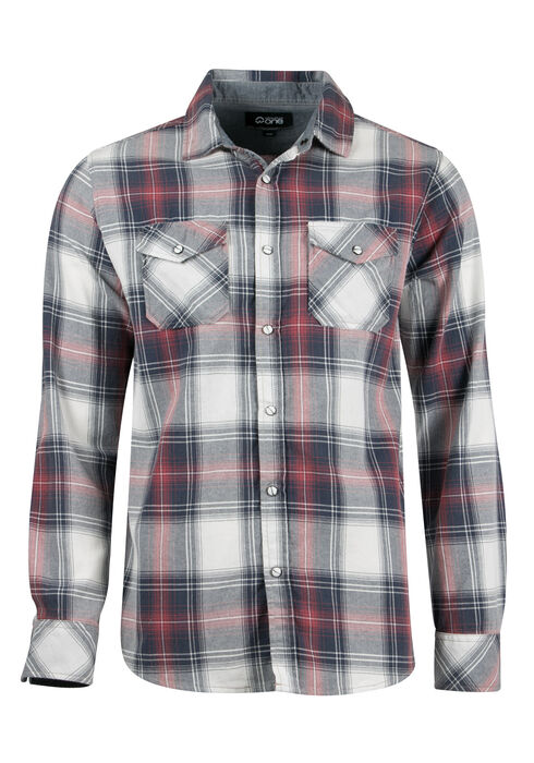 Men's Relaxed Plaid Shirt, BURGUNDY, hi-res