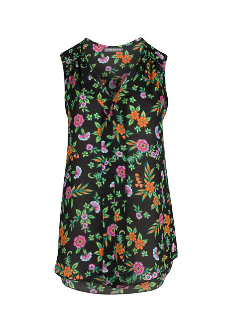 Ladies' Floral Pleat Front Tank