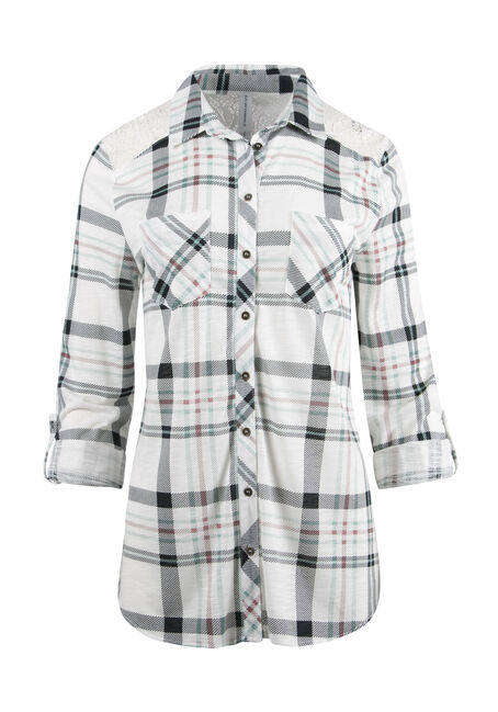 Ladies' Lace Trim Knit Plaid Shirt
