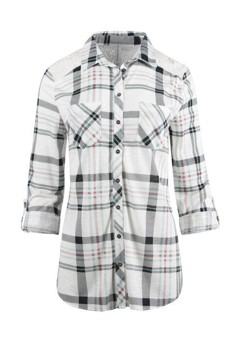 Ladies' Lace Trim Knit Plaid Shirt, MEADOW GREEN/IVORY, hi-res