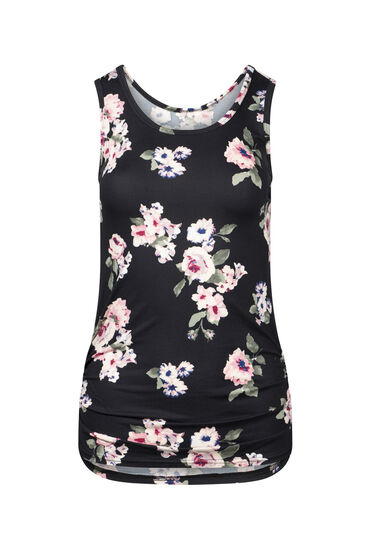 Women's Floral Super Soft Tank, BLACK, hi-res