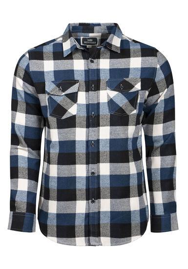 Men's Plaid Flannel Shirt, MIDNIGHT NAVY, hi-res