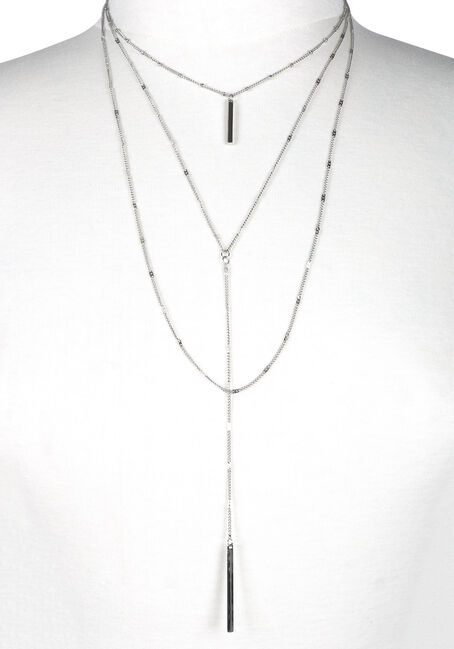 Women's Layered Y Necklace, RHODIUM, hi-res