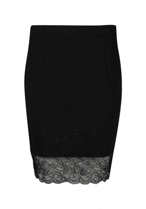 Women's Lace Hem Skirt, BLACK, hi-res