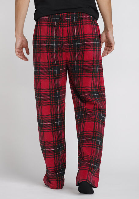 Men's Plaid Fleece Sleep Pant, CRIMSON, hi-res
