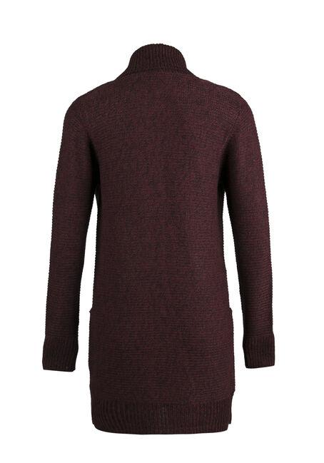 Ladies' Shawl Collar Open Cardigan, WINE/ BLACK TWIST, hi-res