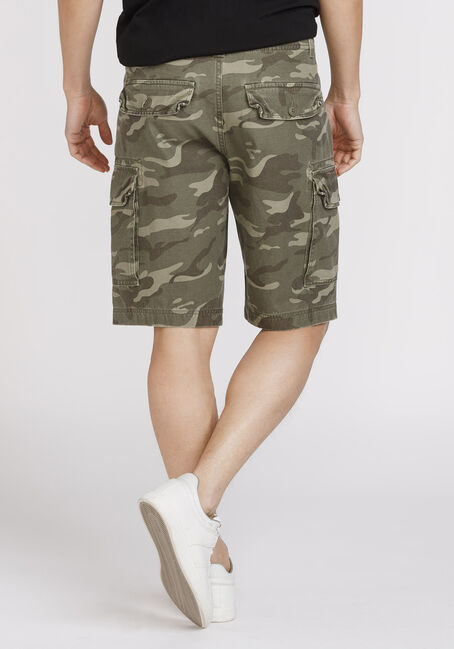 Men's Camo Cargo Shorts, OLIVE, hi-res