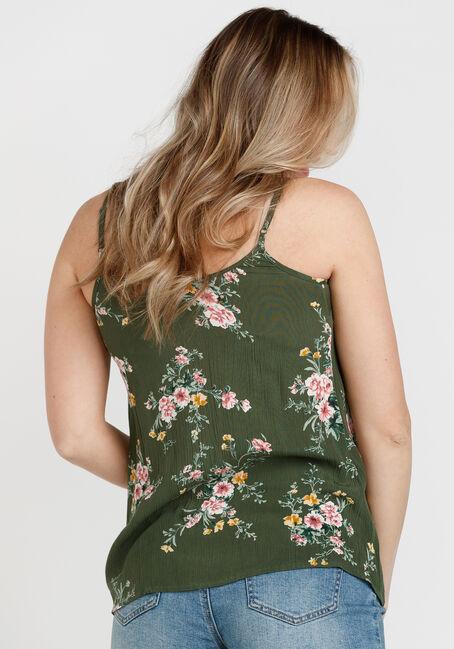Women's Floral Lace Up Tank, OLIVE, hi-res