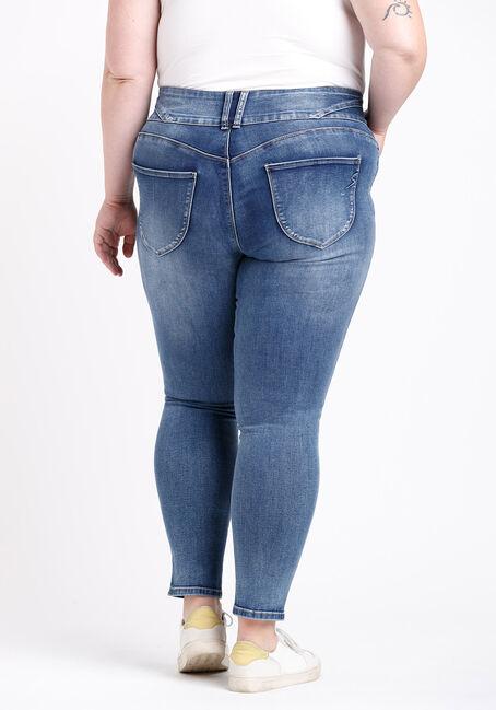 Women's Plus 3 Button High Rise Skinny Jeans, MEDIUM WASH, hi-res