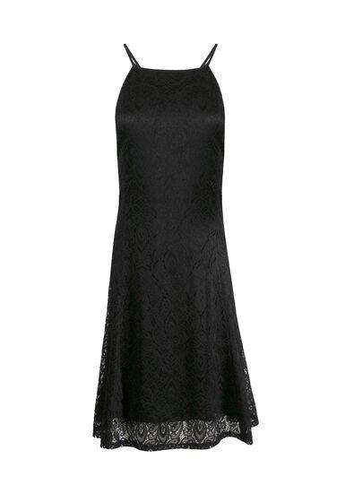 Women's Lace High Neck Dress, BLACK, hi-res