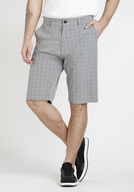 Men's Grey Plaid Hybrid Shorts