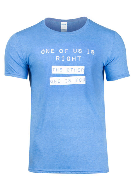 Men's One of Us is Right Tee, HEATHER ROYAL, hi-res