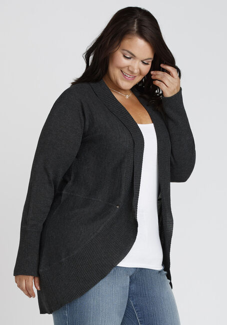 Ladies' Cocoon Cardigan, CHARCOAL MARL, hi-res
