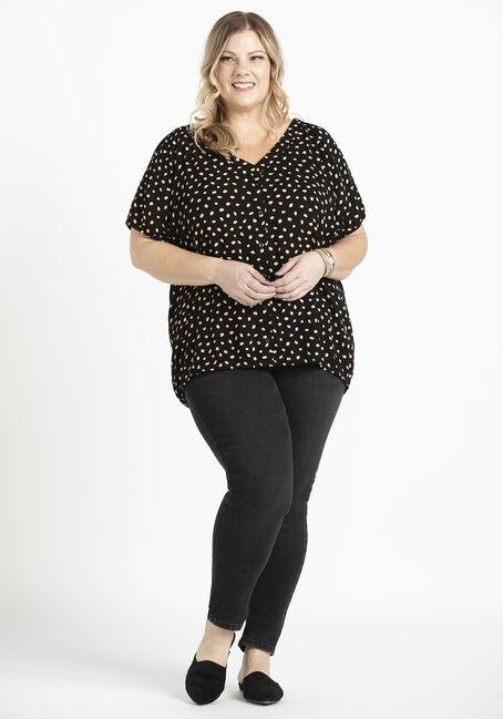 Women's Polka Dot Peasant Top, BLACK, hi-res