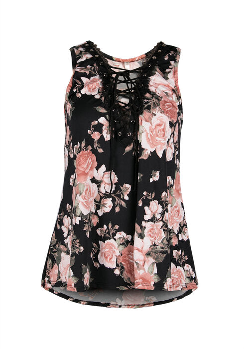 Ladies' Floral Lace-Up Tank, BLACK, hi-res