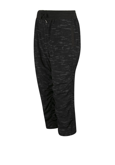 Ladies' Space Dye Athletic Capri, BLK/GRY, hi-res