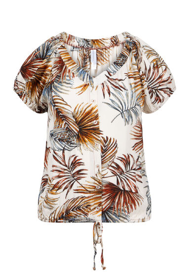 Women's Palm Print Tie Front, IVORY, hi-res