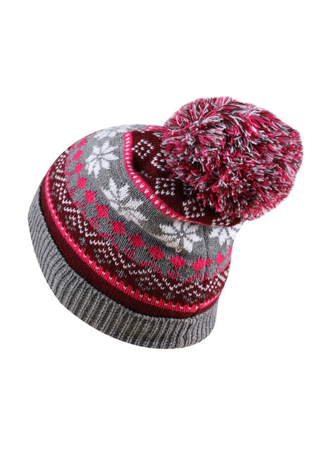Ladies' Nordic Pom Pom Hat, BURGUNDY, hi-res