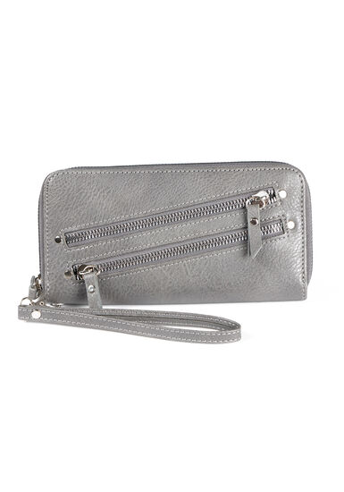 Women's Wristlet Wallet, GREY, hi-res