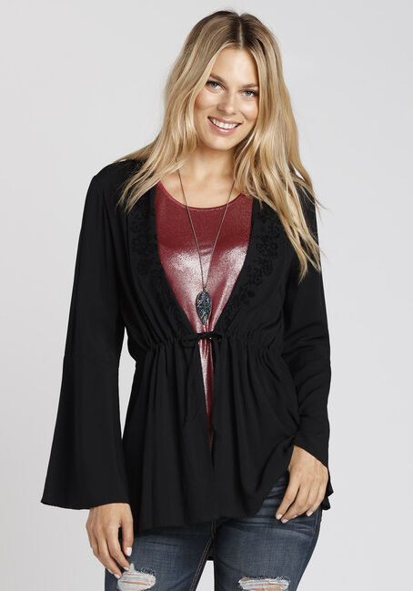 Women's Tie Front Kimono, BLACK, hi-res