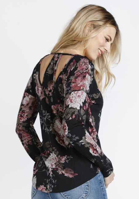 Ladies' Floral Cut Out Back Top, BLACK, hi-res