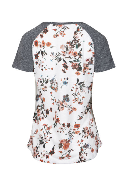 Women's Floral Blossom Baseball Tee, WINTER WHITE, hi-res