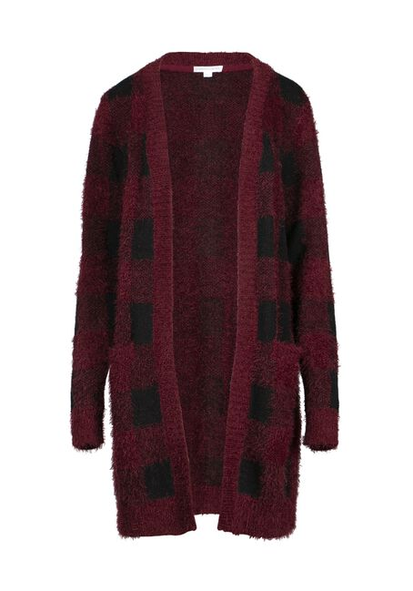 Women's Buffalo Plaid Cardigan, BRICK/BLK, hi-res