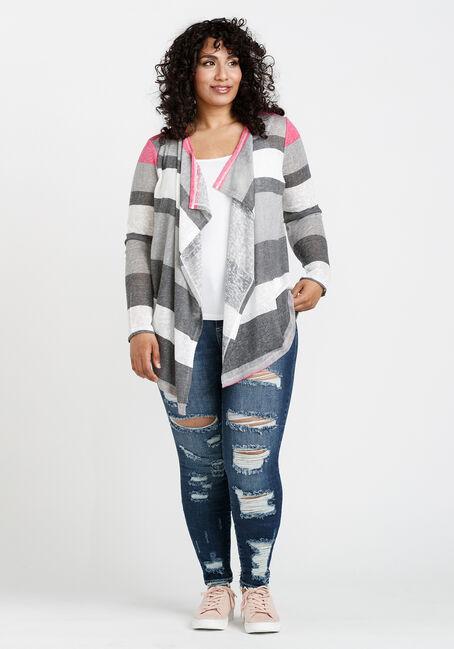 Women's Stripe Slub Cardigan, BRIGHT PINK, hi-res