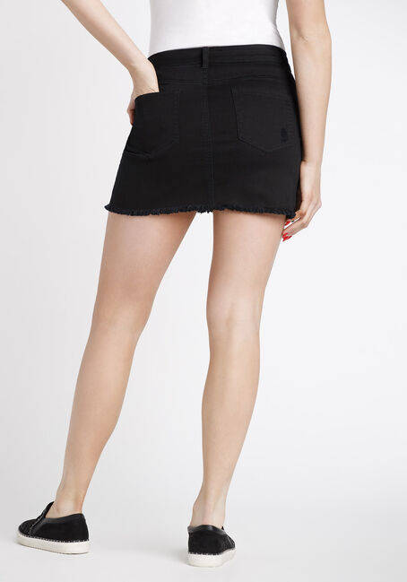 Women's Ripped Black Denim Skirt, BLACK, hi-res