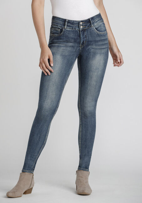 Women's Stacked Button Mid Wash Skinny Jeans