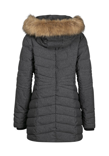 Women's Quilted Parka with Fooler, TEXTURED CHARCOAL, hi-res