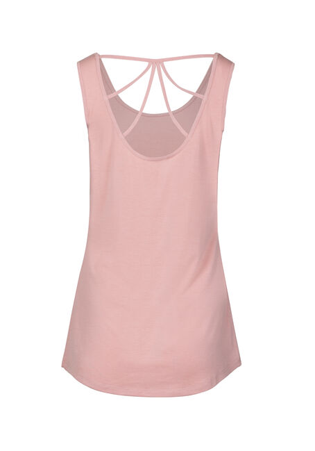 Women's Love Pineapple Cage Back Graphic Tank, DUSTY PINK, hi-res