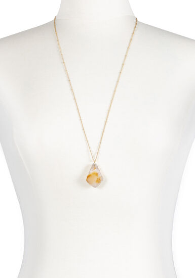 Women's Natural Stone Necklace, GOLD, hi-res