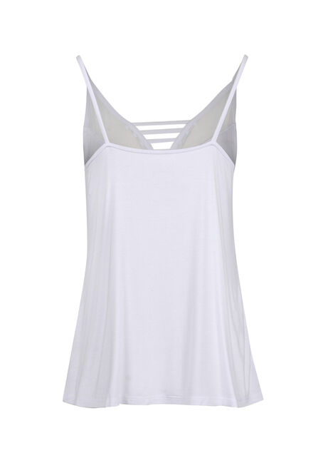 Ladies' Mesh Ladder Neck Tank, WHITE, hi-res