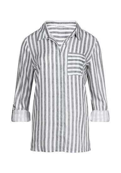 Women's One Pocket Boyfriend Shirt, WHITE, hi-res