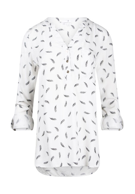 Women's Leaf Print Roll Sleeve Shirt